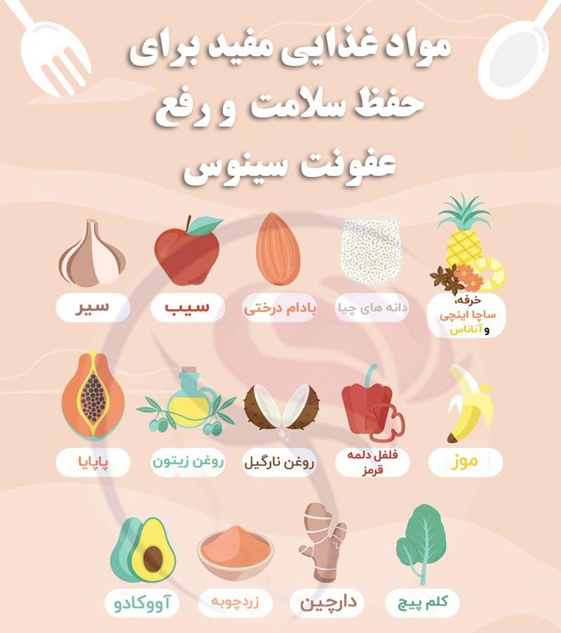 خوردنی های مفید برای سینوزیت